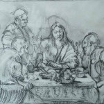Supper at Emmaus (after Caravaggio), penil, 24x32