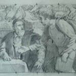 Study for Shaking Hands with Titian, 27x34