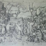 Adoration of the Golden Calf (after Poussin), pencil SOLD